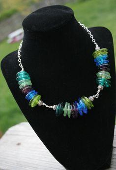 Handmade Teal, Aqua, Green Apple, & Purple Disc Lampworking Sterling Silver Necklace.