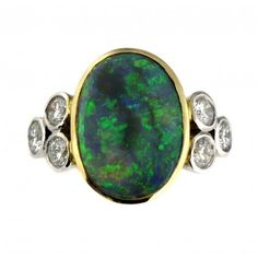 James Ness & Son | Shop | Rings | 7ct Black Opal & 0.48ct Diamond Trefoil Ring in 18ct Gold
