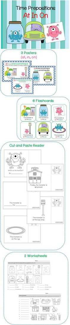 $ Time Prepositions (at, in, on) - Includes Cut and Paste Emergent Reader, Flashcards, Worksheets, etc)