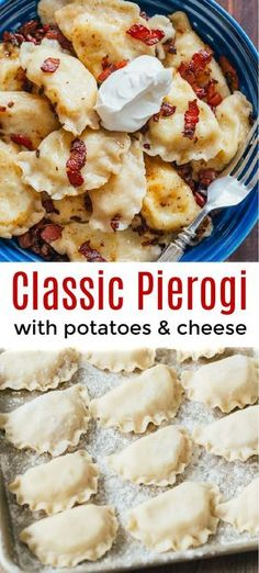 The BEST Pierogi filled with cheesy potatoes and served with crispy bacon, melted butter and sour cream. Homemade Pierogi is the ultimate comfort food! The post Pierogi Recipe appeared first on Food Monster. Pasta Recipes, Cooking Recipes, Comfort Food Recipes, Comfort Foods, Bacon Dinner Recipes, Vegetarian Comfort Food, Best Comfort Food, Skillet Recipes, Finger Foods