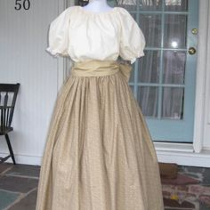 Add a bonnet and apron and voila!  Womens Prairie Pioneer Colonial Dress Costume Muslin Civil War $67.99 Comes with cap and sash