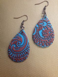 Henna Mehndi Style Earrings Polymer Clay Lightweight Copper and Turquoise on Etsy, $18.00