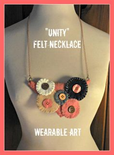 Circles of Unity Felt Bib Necklace Wearable Art Geometric Shapes with Buttons Salmon Beige White and Black Colors with Copper Chain 24 inch