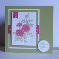 Card made with the Stampin Up Sweetbriar Rose stamp.