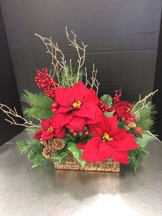 Rustic Red Poinsettia Custom Floral By Andrea For Michaels Round Rock Christmas Flower Arrangements, Christmas Flowers, Christmas Makes, Noel Christmas, Rustic Christmas, Christmas Crafts, Christmas Ornaments, Christmas Candles, Floral Arrangements