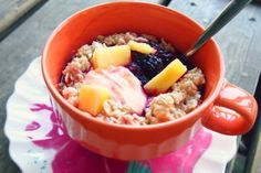 Ingredients:  1/2 Cup Quaker Oats 1/2 Cup Vanilla Greek Yogurt (I used Chobani) 1 Cup Water A Couple Pineapple Chunks 1/2 Cup Frozen Mixed Berries (No Sugar Added) 1 Packet Truvia 2 Tbsp Unsweetened Almond Milk