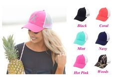 A great Monogram Trucker Hat for the girls! The front comes in four cute colors and is contrasted with a white mesh back. Imagine how great you will look in our Monogram Trucker Hat.  Additional Info: Soft Cotton Front, Plastic Mesh Back, Adjustable Strap  Ordering Instructions