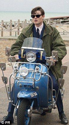 Sam Riley in Brighton Rock. Retro Scooter, Lambretta Scooter, Scooter Girl, Vespa Scooters, Penny For The Guy, Vespa Models, Brighton Rock, Fred Perry Polo Shirts, Sam Riley