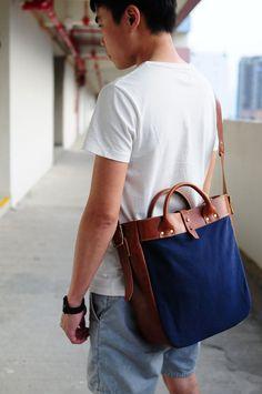 Handmade Brown Leather And Canvas Shoulder door ArtemisLeatherware