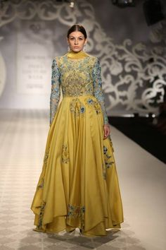 Varun Bahl at India Couture Week - yellow blue layered anarkali, bridal wear Lakme Fashion Week, India Fashion, Ethnic Fashion, Asian Fashion, Women's Fashion, Pakistani Dresses, Indian Dresses, Indian Outfits, Western Outfits