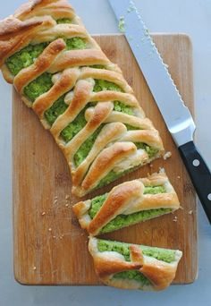 Broccoli Pesto Braid.  In a food processor, combine the broccoli, almonds, garlic, cheese, salt and pepper. With the motor running, add the oil in a thin stream, until you get a pesto consistency. Taste and add more salt if needed.  For mor go directly to the web :O)