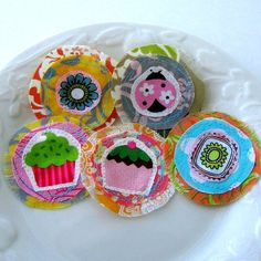 fabric flowers flower appliques flower patch by tracyBdesigns, $5.25