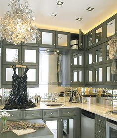 Add mirrors to your kitchen cabinets for a glamorous kitchen style #Kohler #Kitchen #remodel