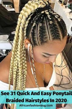 Latest Classy braided hairstyles for black women. #ponytailbraids Curly Weave Hairstyles, Braided Hairstyles For Black Women, Crochet Braids Hairstyles, African Braids Hairstyles, Short Bob Hairstyles, Curly Hair Styles, Gorgeous Hairstyles, Haircuts, Wedding Hair Colors