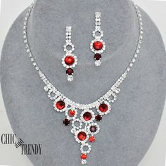 CLEARANCE RED & CLEAR CRYSTAL PROM WEDDING FORMAL NECKLACE JEWELRY SET TRENDY #Unbranded