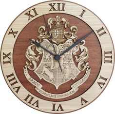 Amazing Hogwarts Wood Clock, inspired by the Harry Potter books. Made from two pieces pasted with veneer sheets of Oak and Sapele (Sapelli), to