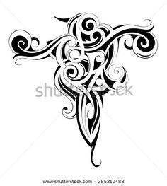 Body art ink tattoo with Maori ethnic elements - stock vector