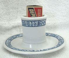 Antique Shenango Blue & White Match Stand Match Box Holder Hotel Bar Ware SHP