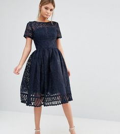 Chi Chi London Premium Lace Dress with Cutwork Detail and Cap Sleeve -