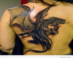 #Tattoo on full back – Dragon 3d Tattoo / Pintast