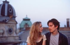 """Julie Delpy & Ethan Hawke in """"Before Sunrise"""" - Richard Linklater, Film Logo, Julie Delpy, Before Sunrise Movie, Before Sunrise Quotes, Before Trilogy, Movies And Series, Scenes From Movies, Movie Shots, Beautiful Film"""