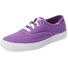 Keds Women's Triumph Canvas Sneaker - Purple - Size 7.5 ($25) ❤ liked on Polyvore featuring shoes, sneakers, purple, vans, purple sneakers, rubber sole shoes, low profile sneakers, lace up sneakers and canvas sneakers