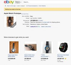 """Seller says he obtained the watch """"from a cousin who works for Apple"""", closes bidding as soon as he nabs a few notes Apple Watch, Cell Phone Accessories, Conditioner, Notes, Watches, Reading, Ebay, Wrist Watches, Report Cards"""
