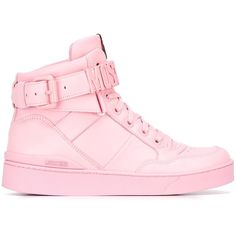Moschino logo plaque hi-top sneakers ($620) ❤ liked on Polyvore featuring shoes, sneakers, hi tops, pink shoes, high top sneakers, moschino shoes and pink flat shoes