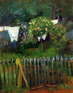 August Macke |  Laundry in the garden in Kandern, 1907