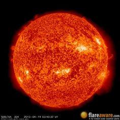 The hourly sun (at 03:45 am  UTC on 14 April 2013)