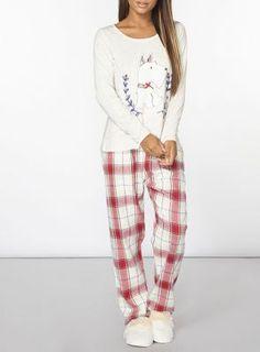 Cosy scotty dog pyjama set with check detail bottoms.