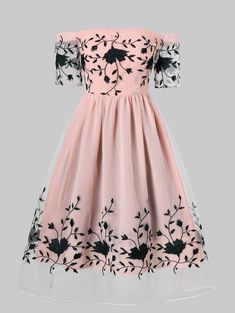 Embroidered Off Shoulder Party Dress - PINK XL Source by vandanapha dresses teenage Cute Prom Dresses, Elegant Dresses, Pretty Dresses, Beautiful Dresses, Casual Dresses, Short Dresses, Dresses Dresses, Dress Prom, Homecoming Dresses