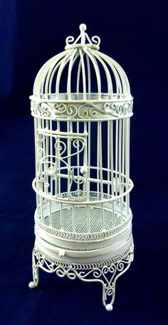 Dolls House Miniature 1:12 Pet Accessory White Wire Wrought Iron Large Bird Cage