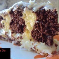 Receita de Bolo fusão recheado - 3 ovos, 3 colheres (sopa) de margarina, 2 xícaras (chá) de açúcar, 3 xícaras (chá) de farinha de trigo, 1 xícara (chá) de a...