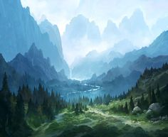 Te Deum by Andreas Rocha : wallpapers Mountain Waterfall, Forest Mountain, Fantasy Landscape, Landscape Art, Fantasy World, Fantasy Art, R Wallpaper, Environment Concept, Environmental Art
