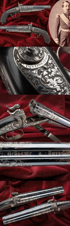 A pair of pin-fire pistols made for Napoleon III: Provenance: Collection Prince Napoleon, sold by Chateau de Prangin, November lot the rifle was in the same sale, lot Mid century. Firearms, Shotguns, Black Powder Guns, Regal Design, Weapon Of Mass Destruction, Arm Armor, Hunting Rifles, Cool Guns, Guns And Ammo