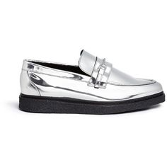 Opening Ceremony 'Sloan' mirror leather creeper loafers ($375) ❤ liked on Polyvore featuring shoes, loafers, metallic, black loafer shoes, black leather shoes, silver metallic shoes, loafer shoes and metallic loafers