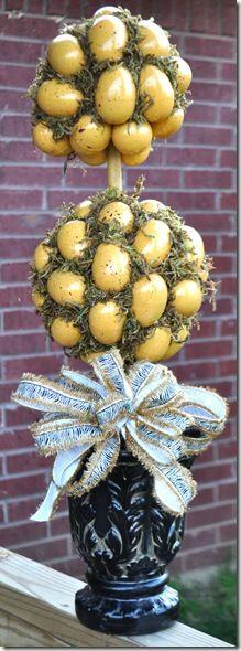 YELLOW EGG TOPIARY egg topiari, easter eggs, yellow egg, diy topiari