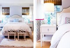 Bright Bedroom ♥ i must diy a bookcase with this design!