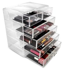 Store your make-up, brushes and jewelry in an organized way with this clear tall 4-drawer Organizer. This case is also perfect for storing small items such as baking materials, tools, bath supplies and even small kids toys.
