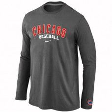 Wholesale Men Chicago Cubs Authentic Team Name Long Sleeve Dark Grey T-Shirt_Chicago Cubs T-Shirt