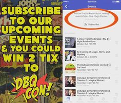 Wanna go to #DBQCon at the @FiveFlagsCenter in #Dubuque #Iowa?! You can win 2 two-day passes by checking out our Facebook page and subscribing to our Upcoming Events! #DBQ #DubuqueIowa #Galena #Dyersville #Manchester #IowaCity #Waterloo #CedarRapids #Davenport #bettendorf #Madison #Platteville #LaCrosse #Wisconsin