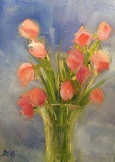 "Original oil painting by Debi Hinshaw, 7"" x 5"" on hard board panel.  ""Pink Tulips"""