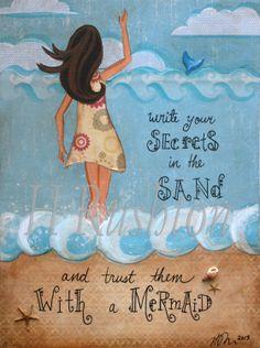 Beach Art Mermaid Art PrintMermaid QuoteBeach by HRushtonArt, $14.00
