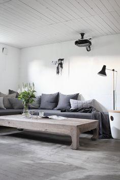 Concrete, living room, basement, scandinavian, grey, TV room