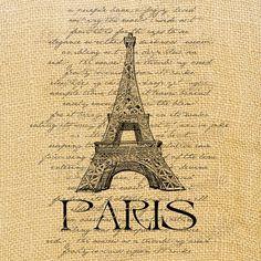 Tour Eiffel     vintage romantic large image paris france europe transfer gift tag label napkins pillow original large image Sheet n.148