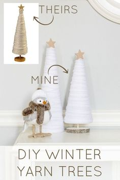 Make these easy and affordable DIY winter yarn trees to spruce up your winter decor! A great knock off idea to get the look for less! Get the tutorial at ! Christmas Tree Yarn, Rustic Christmas, Christmas Holidays, Christmas Decorations, Christmas Projects, Yarn Crafts, Holiday Crafts, Holiday Decor, Yarn Trees
