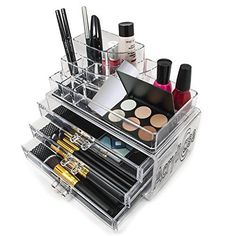 Acrylic Makeup Organizer Cosmetic Display 3 Drawer Jewerly Makeup Case Lipstick and Brush Holder by Acrylicase -- AMAZON Great Sale