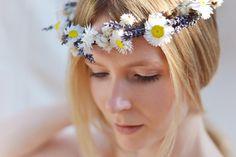 Lavender and White Modern Folk Woodland Inspired Floral Headband for Bride Bridesmaid or Flowergirl Dried Flower Boho Festival Wreath Halo by CGWeddingFlowers on Etsy https://www.etsy.com/listing/245461337/lavender-and-white-modern-folk-woodland