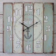 Gran-Shabby-Chic-Rustico-Estilo-Vintage-Azul-De-Madera-Blanca-Reloj-De-Pared-En-La-Playa